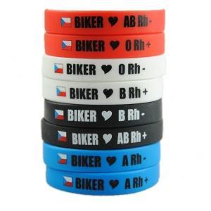 Moto náramek Biker s krevní skupinou AB RH+