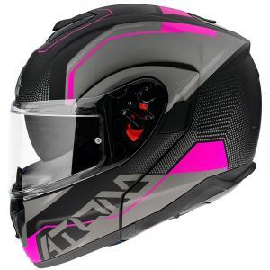 Vyklápacia prilba na motocykel MT Atom SV Quark čierno-šedo-ružová