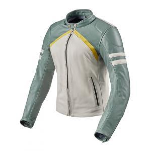 Dámska bunda na motocykel Revit Meridian bielo-zelená výpredaj