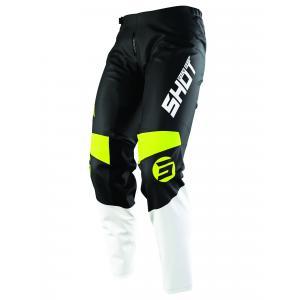 Detské motokrosové nohavice Shot Devo Storm čierno-bielo-fluo žlté výpredaj