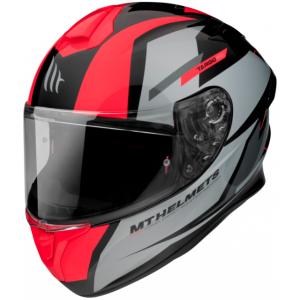 Integrálna prilba na motocykel MT FF106 Pre Targo Pro Sound čierno-sivo-fluo červená