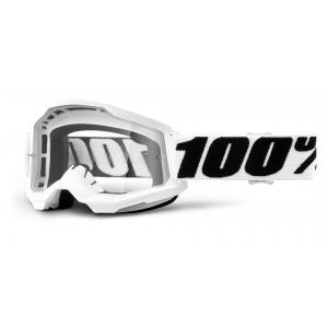 Motokrosové okuliare 100% STRATA 2 biele (číre plexi)