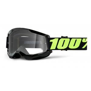 Motokrosové okuliare 100% STRATA 2 čierné lesklé (číre plexi)