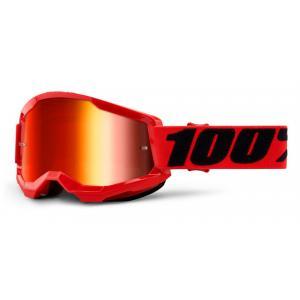 Motokrosové okuliare 100% STRATA 2 červené (červené zrkadlové plexi)
