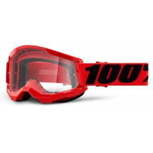 Motokrosové okuliare 100% STRATA 2 červené (číre plexi)