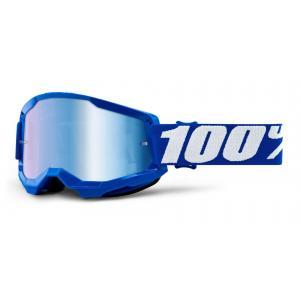 Motokrosové okuliare 100% STRATA 2 modré (modré zrkadlové plexi)