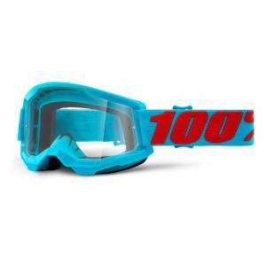 Motokrosové okuliare 100% STRATA 2 tyrkysové (číré plexi)