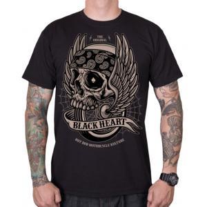 Pánske tričko Black Heart Wings Skull