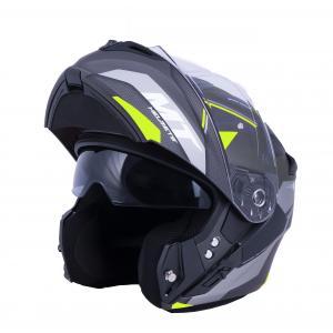 Vyklápacia prilba na motocykel MT Storm ST-ONE čierno-šedo-fluo žltá