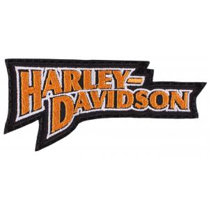 Nášivka Harley Davidson nápis oranžová