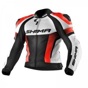 Bunda na motorku Shima STR čierno-bielo-fluo červená výpredaj