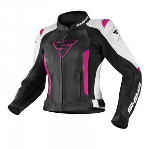 Dámska bunda na motorku Shima Miura čierno-bielo-fuchsiová výpredaj