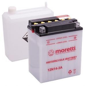 Konvenčná motocyklová batérie Moretti 12N14-3A, 12V 14Ah