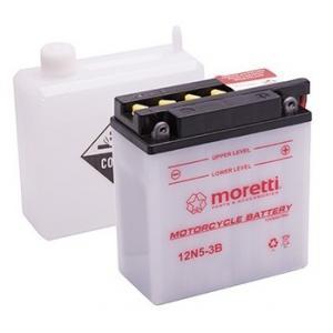 Konvenčné motocyklová batérie Moretti 12N5-3B, 12V 5Ah
