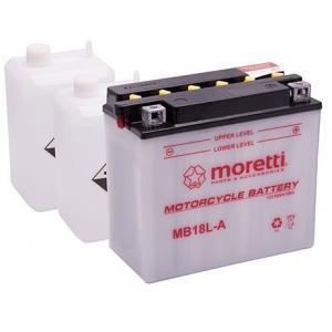 Konvenčné motocyklová batérie Moretti MB18L-A, 12V 18Ah