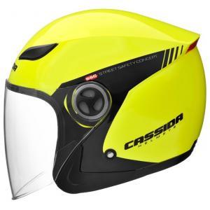 Otvorená prilba na motocykel Cassida Reflex Safety čierno-fluo žltá