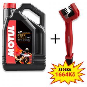 Sada olej 7100 20W-50 4L + kefa na čistenie reťaze Motul