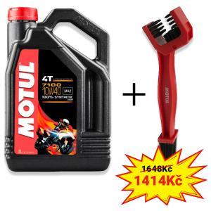 Sada olej 7100 4T 10W-40 4L + kefa na čistenie reťaze Motul