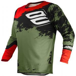 Motokrosový dres Shot Contact Shadow zeleno-čierno-červený výpredaj