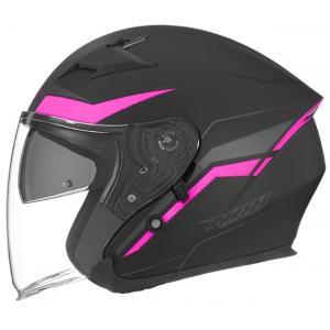 Otvorená prilba na motocykel NOX N127 Late čierno-ružová