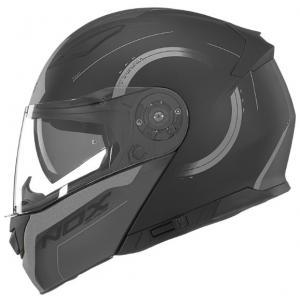 Vyklápacia prilba na motocykel NOX N965 Peak čierno-strieborná