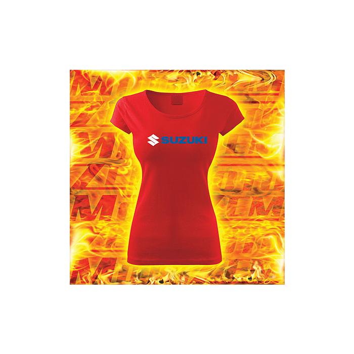 Dámske tričko s motívom Suzuki červené