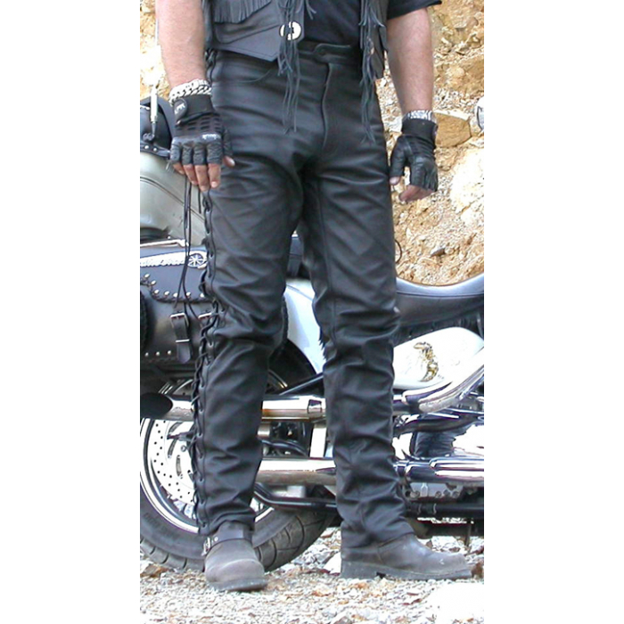 Kožené kalhoty na chopper se šněrováním KP-1