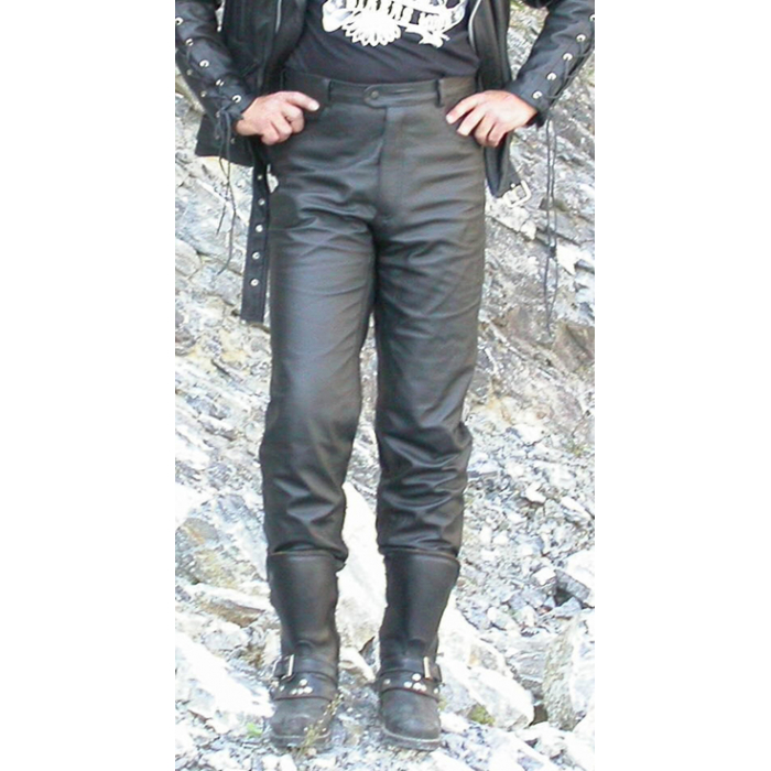 Kožené moto kalhoty hladké pánské KP