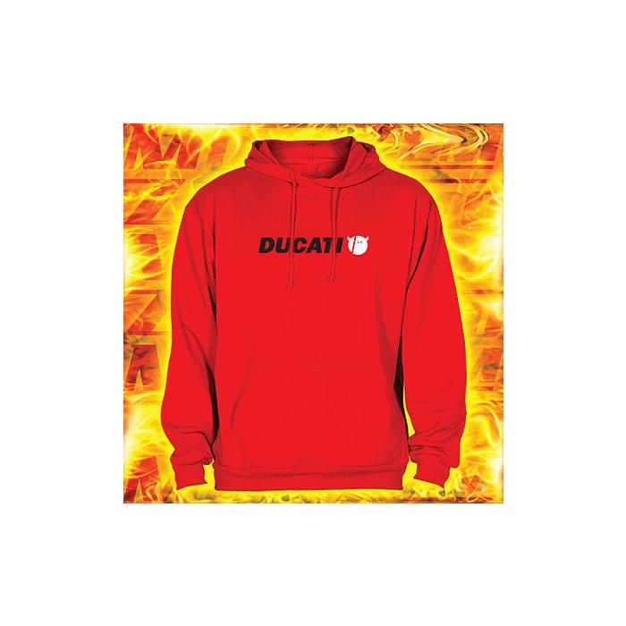 Mikina s motívom Ducati červená s kapucňou vypredaj výpredaj