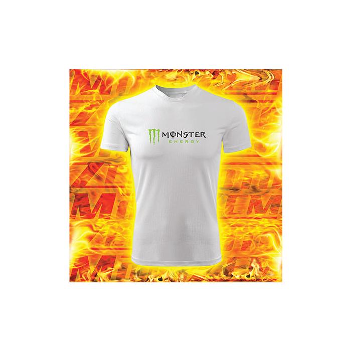 Tričko s motívom Monster energy biele
