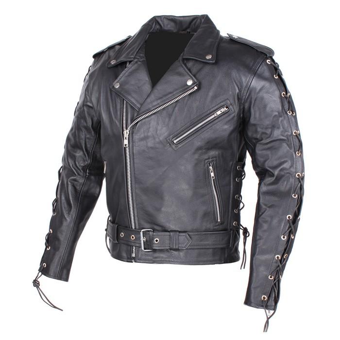 Kožená bunda RSA so šnurovaním na rukávoch