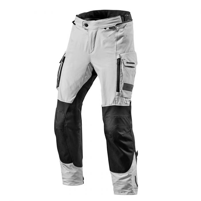 Nohavice na motorku Revit Offtrack čierno-strieborné predĺženej