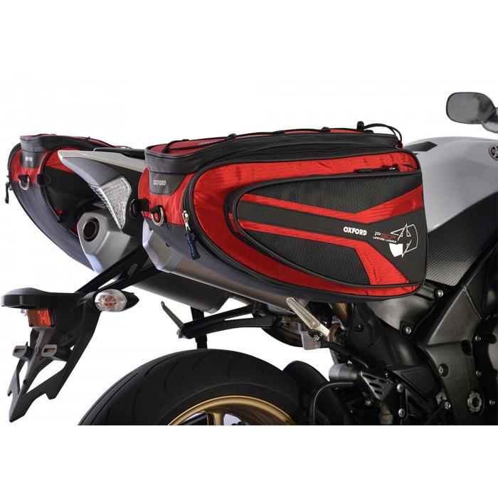 Bočné brašne na motocykel Oxford P50R čierno-červené výpredaj