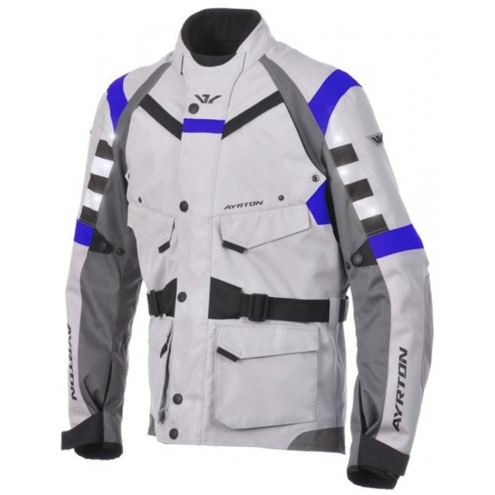 Bunda na motocykel Ayrton Fuel šedo-čierno-modrá