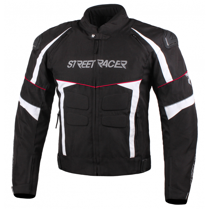 Bunda na motocykel Street Racer Spark čierno-bielo-červená