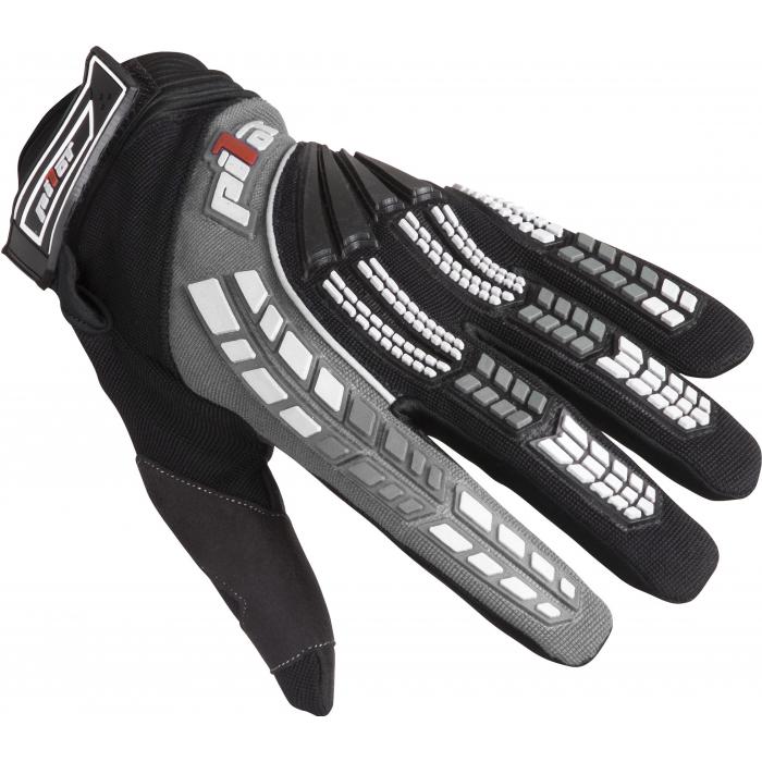 Detské motokrosové rukavice na motorku Pilot čierno-sivé - II. akosť