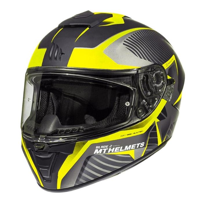 Integrálna prilba na motocykel MT Blade 2 SV Blaster čierno-šedo-fluo žltá