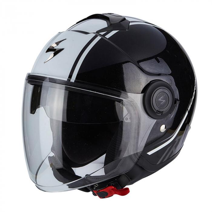 Otvorená prilba na motocykel Scorpion EXO-CITY Avenue čierno-biela výpredaj