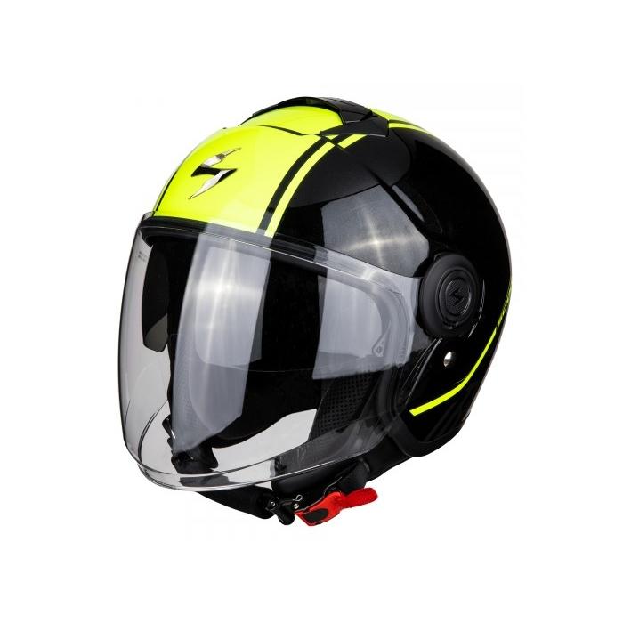 Otvorená prilba na motocykel Scorpion EXO-CITY Avenue čierno-fluo žltá