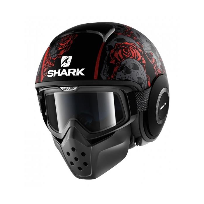 Otvorená prilba SHARK DRAK Sanctus Mat čierno-šedo-červená