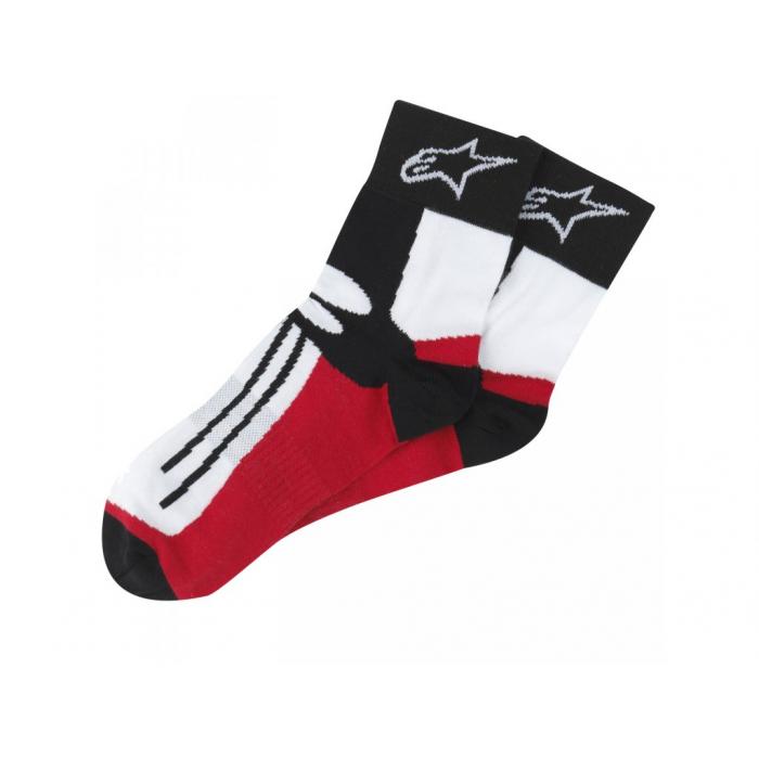 Ponožky Alpinestars Racing Road krátke čierno-bielo-červené